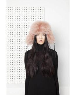Glass Fur Hat - Almond