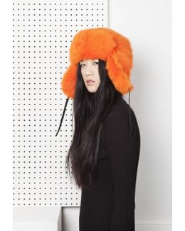 Glass Fur Hat - Orange