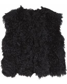 Steffi Cropped Fur Vest - Black
