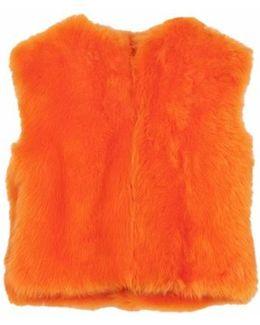 Steffi Cropped Fur Vest - Orange