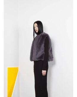 Steffi Cropped Fur Vest - Grey