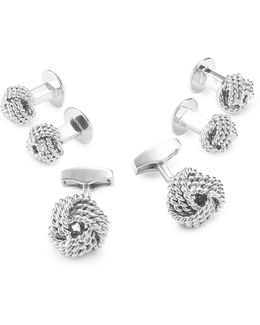 Braided Cuff Links & Shirt Studs Set