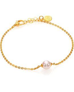 8mm White Pearl Chain Bracelet