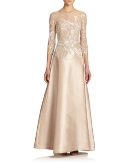 Bead-top Satin Gown