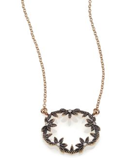 Diamond & 14k Blackened Gold Small Open Petal Necklace