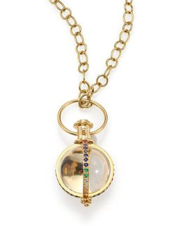 Celestial Rock Crystal, Multicolor Sapphire, Diamond & 18k Yellow Gold Classic Amulet