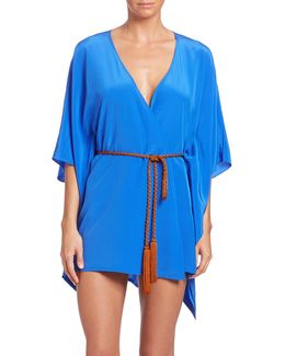 Belted Metallic-detailed Linen Wrap Coverup