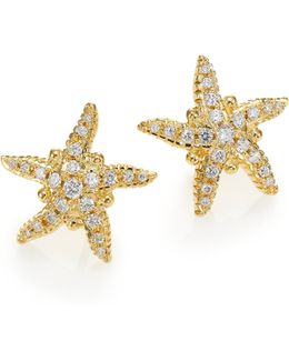 Diamond & 18k Yellow Gold Sea Star Stud Earrings