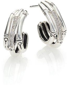 Bamboo Diamond & Sterling Silver Triple Hoop Earrings/0.6