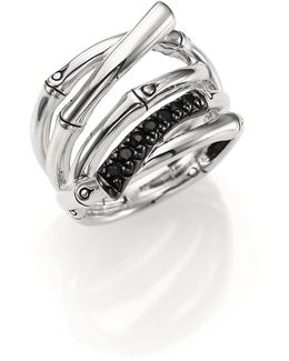 Bamboo Black Sapphire & Sterling Silver Multi-row Ring