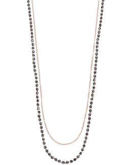 Biography Hematite & White Sapphire Sun Beaded Necklace
