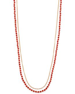 Red Agate & White Sapphire Long Beaded Hamsa Charm Necklace