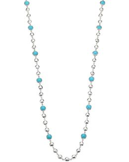 Rock Candy Turquoise & Sterling Silver Long Beaded Necklace