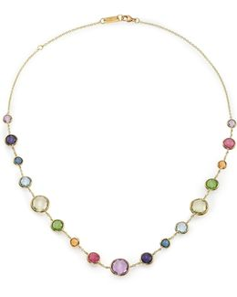 Rock Candy Rainbow Semi-precious Multi-stone & 18k Yellow Gold Lollitini Short Station Necklace