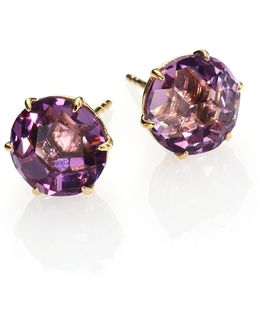 Rock Candy Dark Amethyst & 18k Yellow Gold Stud Earrings