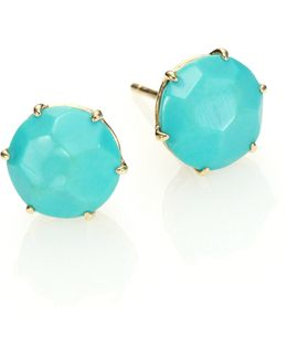 Rock Candy Turquoise & 18k Yellow Gold Stud Earrings