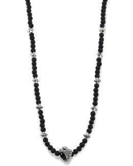 Lava Rock & Black Onyx Raven Claw Beaded Necklace