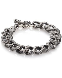 Small Feather Carved Link Bracelet