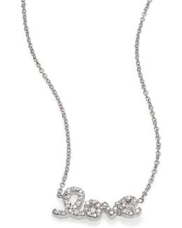 Tiny Treasures Diamond & 18k White Gold Love Letter Necklace