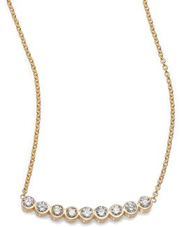 Diamond & 14k Yellow Gold Curved Bezel Bar Necklace