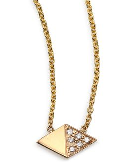 Diamond & 14k Yellow Gold Double Triangle Necklace