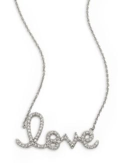 Large Love Diamond & 14k White Gold Necklace