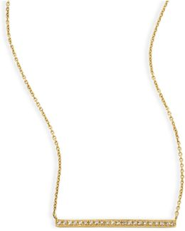 Micropave Diamond & 14k Yellow Gold Bar Necklace