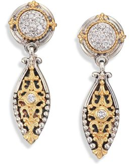 Asteri Diamond, 18k Yellow Gold & Sterling Silver Filigree Marquis Drop Earrings