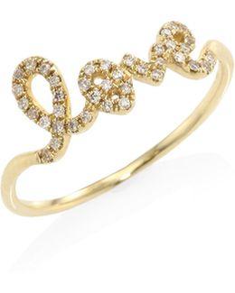 Love Diamond & 14k Yellow Gold Ring