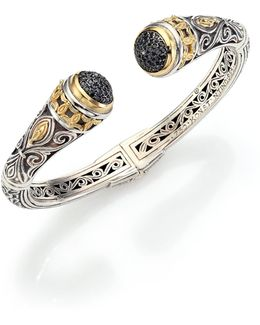 Asteri Black Diamond, 18k Yellow Gold & Sterling Silver Filigree Cuff Bracelet