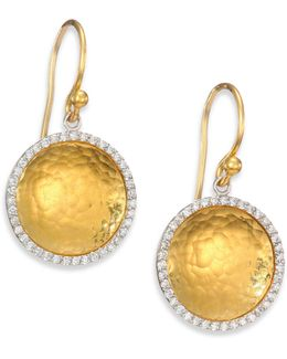 Hourglass Diamond & 24k Yellow Gold Small Drop Earrings