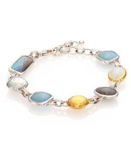 Lentil Semi-precious Multi-stone, 24k Yellow Gold & Sterling Silver Storm Bracelet