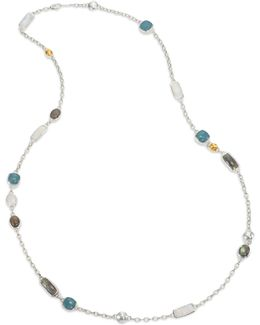 Lentil Semi-precious Multi-stone, 24k Yellow Gold & Sterling Silver Storm Long Station Necklace