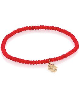 3mm Beaded Coral Bracelet With Diamond Hamsa Pendant