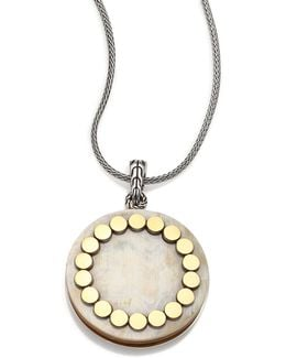 Dot Buffalo Horn, 18k Yellow Gold & Sterling Silver Large Locket Necklace