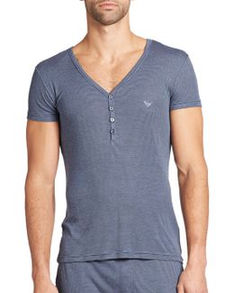 Viscose Striped Henley T-shirt