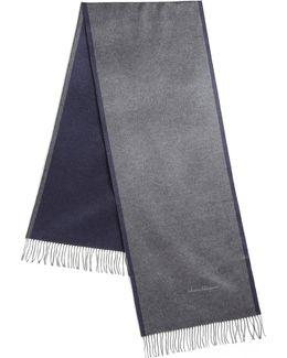 Two-tone Fringed Silk Scarf