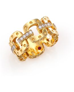 Pois Moi Diamond & 18k Yellow Gold Chain Band Ring