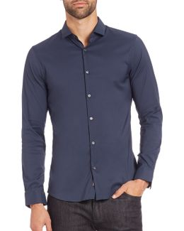 Stretch Solid Button-down Shirt