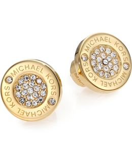 Heritage Plaque Pave Logo Stud Earrings/goldtone