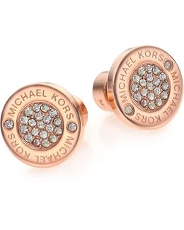 Heritage Plaque Pave Logo Stud Earrings/rose Goldtone