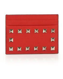 Rockstud Leather Card Case