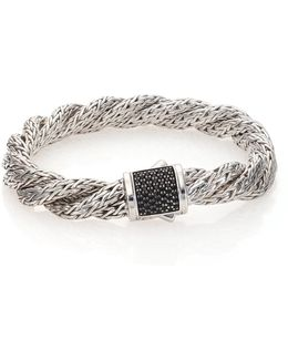 Classic Chain Black Sapphire & Sterling Silver Medium Twisted Bracelet