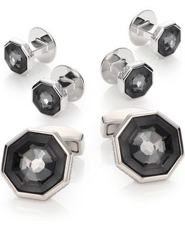 Crystal Octagon Cuff Link & Shirt Stud Set