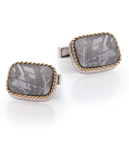 Meteorite, 18k Yellow Gold & Sterling Silver Cable Cuff Links
