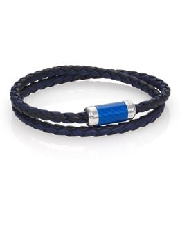 Leather, Carbon Fiber & Sterling Silver Bicolor Braided Bracelet