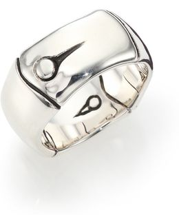 Bamboo Sterling Silver Wide Band Ring