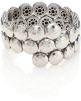 Dot Sterling Silver Disc Double Coil Bracelet