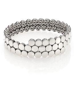 Dot Sterling Silver Double Coil Bracelet