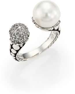 Dot 11mm White Pearl, Diamond & Sterling Silver Wrap Ring